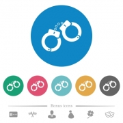 Handcuffs flat white icons on round color backgrounds. 6 bonus icons included. - Handcuffs flat round icons