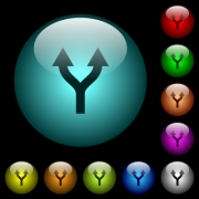 Split arrows up icons in color illuminated spherical glass buttons on black background. Can be used to black or dark templates - Split arrows up icons in color illuminated glass buttons