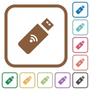 Wireless usb stick simple icons in color rounded square frames on white background - Wireless usb stick simple icons