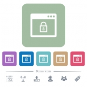 Unlock application white flat icons on color rounded square backgrounds. 6 bonus icons included - Unlock application flat icons on color rounded square backgrounds