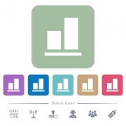 Align to bottom white flat icons on color rounded square backgrounds. 6 bonus icons included - Align to bottom flat icons on color rounded square backgrounds