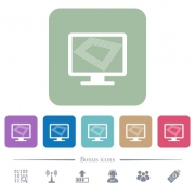 Screen saver on monitor white flat icons on color rounded square backgrounds. 6 bonus icons included - Screen saver on monitor flat icons on color rounded square backgrounds