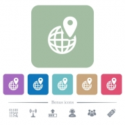 GPS location with globe symbol white flat icons on color rounded square backgrounds. 6 bonus icons included - GPS location with globe symbol flat icons on color rounded square backgrounds