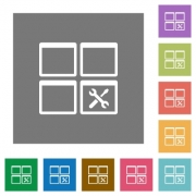 Dashboard tools flat icons on simple color square backgrounds - Dashboard tools square flat icons