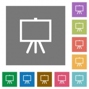 Easel with blank canvas flat icons on simple color square backgrounds - Easel with blank canvas square flat icons