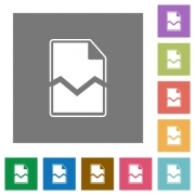 Broken page flat icons on simple color square backgrounds - Broken page square flat icons