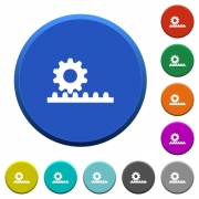 Cogwheel with rack pinion round color beveled buttons with smooth surfaces and flat white icons - Cogwheel with rack pinion beveled buttons