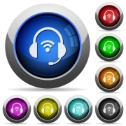 Wireless headset icons in round glossy buttons with steel frames