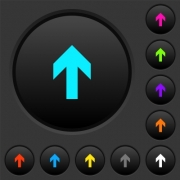Up arrow dark push buttons with vivid color icons on dark grey background