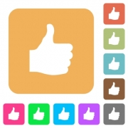 Thumbs up flat icons on rounded square vivid color backgrounds. - Thumbs up rounded square flat icons
