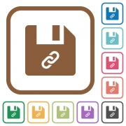 File attachment simple icons in color rounded square frames on white background - File attachment simple icons