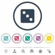 Dice three flat color icons in round outlines. 6 bonus icons included. - Dice three flat color icons in round outlines