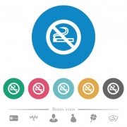 No smoking sign flat white icons on round color backgrounds. 6 bonus icons included. - No smoking sign flat round icons
