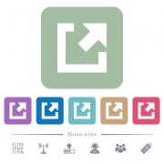 External link white flat icons on color rounded square backgrounds. 6 bonus icons included - External link flat icons on color rounded square backgrounds