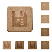 Zipped file on rounded square carved wooden button styles - Zipped file wooden buttons