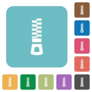 Vertical zipper white flat icons on color rounded square backgrounds - Vertical zipper rounded square flat icons