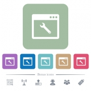 Application maintenance white flat icons on color rounded square backgrounds. 6 bonus icons included - Application maintenance flat icons on color rounded square backgrounds