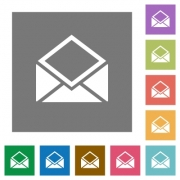 Open mail flat icons on simple color square backgrounds - Open mail square flat icons - Large thumbnail