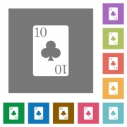 Ten of clubs card flat icons on simple color square backgrounds - Ten of clubs card square flat icons - Large thumbnail