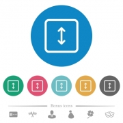 Adjust object height flat white icons on round color backgrounds. 6 bonus icons included. - Adjust object height flat round icons