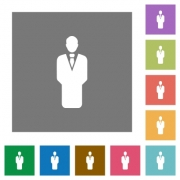 Businessman silhouette flat icons on simple color square backgrounds - Businessman silhouette square flat icons - Large thumbnail