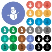 Snowman multi colored flat icons on round backgrounds. Included white, light and dark icon variations for hover and active status effects, and bonus shades. - Snowman round flat multi colored icons