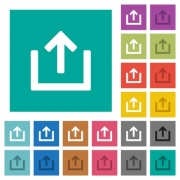 Export item multi colored flat icons on plain square backgrounds. Included white and darker icon variations for hover or active effects. - Export item square flat multi colored icons
