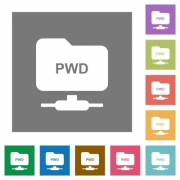 FTP print working directory flat icons on simple color square backgrounds - FTP print working directory square flat icons - Large thumbnail