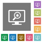 Spyware scanning flat icons on simple color square backgrounds - Spyware scanning square flat icons - Large thumbnail