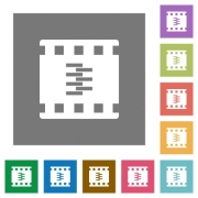 Compress movie flat icons on simple color square backgrounds - Compress movie square flat icons - Large thumbnail