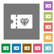 Jewelry store discount coupon flat icons on simple color square backgrounds - Jewelry store discount coupon square flat icons - Large thumbnail