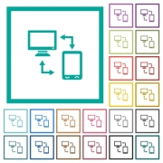 Connecting mobile to desktop flat color icons with quadrant frames on white background - Connecting mobile to desktop flat color icons with quadrant frames