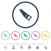Hand saw flat color icons in round outlines. 6 bonus icons included. - Hand saw flat color icons in round outlines