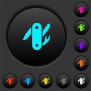 Swiss army knife dark push buttons with vivid color icons on dark grey background - Swiss army knife dark push buttons with color icons