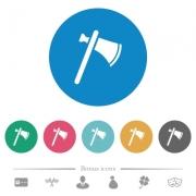Single tomahawk flat white icons on round color backgrounds. 6 bonus icons included. - Single tomahawk flat round icons