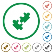 Cooperation flat color icons in round outlines on white background - Cooperation flat icons with outlines