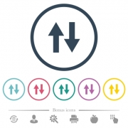 Data traffic flat color icons in round outlines. 6 bonus icons included. - Data traffic flat color icons in round outlines