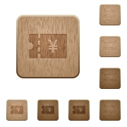 Japanese Yen discount coupon on rounded square carved wooden button styles - Japanese Yen discount coupon wooden buttons