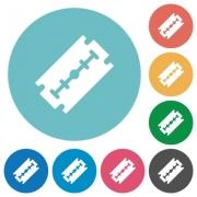 Razor blade flat white icons on round color backgrounds - Razor blade flat round icons