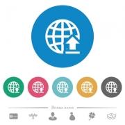 Upload to internet flat white icons on round color backgrounds. 6 bonus icons included. - Upload to internet flat round icons