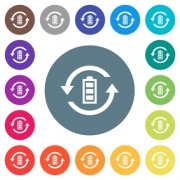 Renewable energy flat white icons on round color backgrounds. 17 background color variations are included. - Renewable energy flat white icons on round color backgrounds