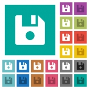 File record multi colored flat icons on plain square backgrounds. Included white and darker icon variations for hover or active effects. - File record square flat multi colored icons