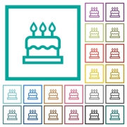 Birthday cake flat color icons with quadrant frames on white background - Birthday cake flat color icons with quadrant frames