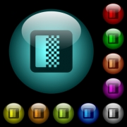 Color gradient icons in color illuminated spherical glass buttons on black background. Can be used to black or dark templates - Color gradient icons in color illuminated glass buttons