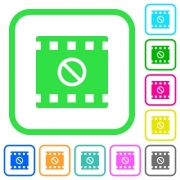 Movie disabled vivid colored flat icons in curved borders on white background - Movie disabled vivid colored flat icons