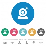 Wireless camera flat white icons on round color backgrounds. 6 bonus icons included. - Wireless camera flat round icons