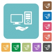 Shared computer white flat icons on color rounded square backgrounds - Shared computer rounded square flat icons