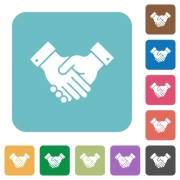 Partnership white flat icons on color rounded square backgrounds - Partnership rounded square flat icons