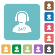 24 hours operator service white flat icons on color rounded square backgrounds - 24 hours operator service rounded square flat icons