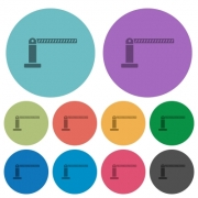 Closed barrier darker flat icons on color round background - Closed barrier color darker flat icons